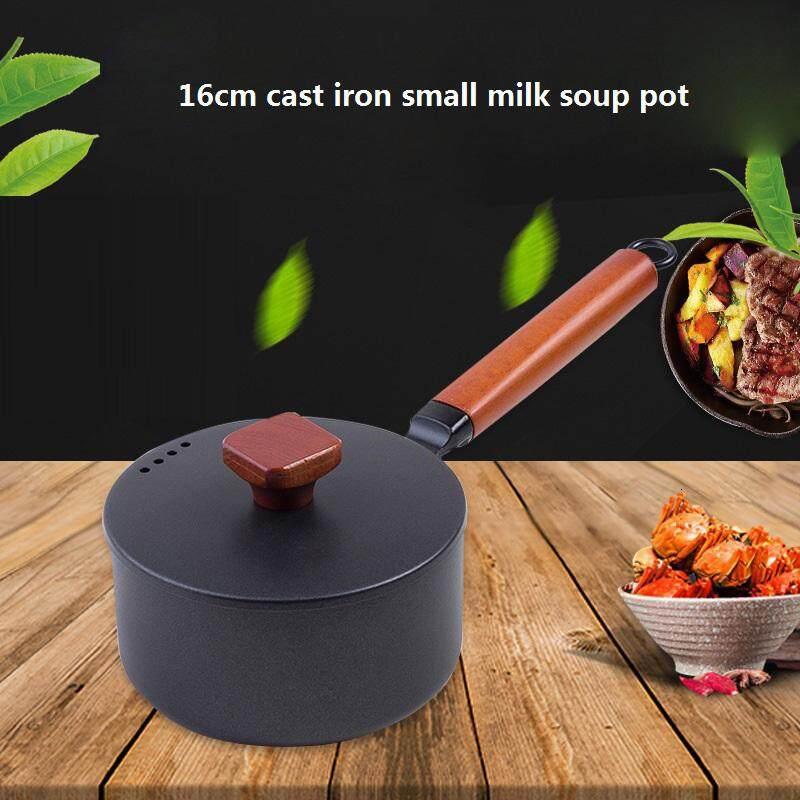 16cm 2L Cast Iron Cooking Soup Pot Milk Heating Stockpot Nonstick Pan Kitchen Mini Stewpan Saucepan for Gas Induction Cooker