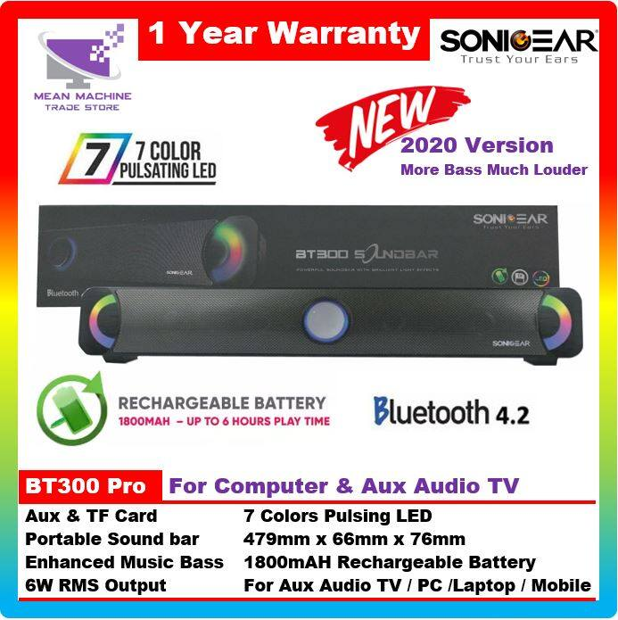 SonicGear BT300 Pro Series Powerful LED Pulsing Bluetooth Sound Bar (For Aux / RCA Audio TV & PC) Malaysia