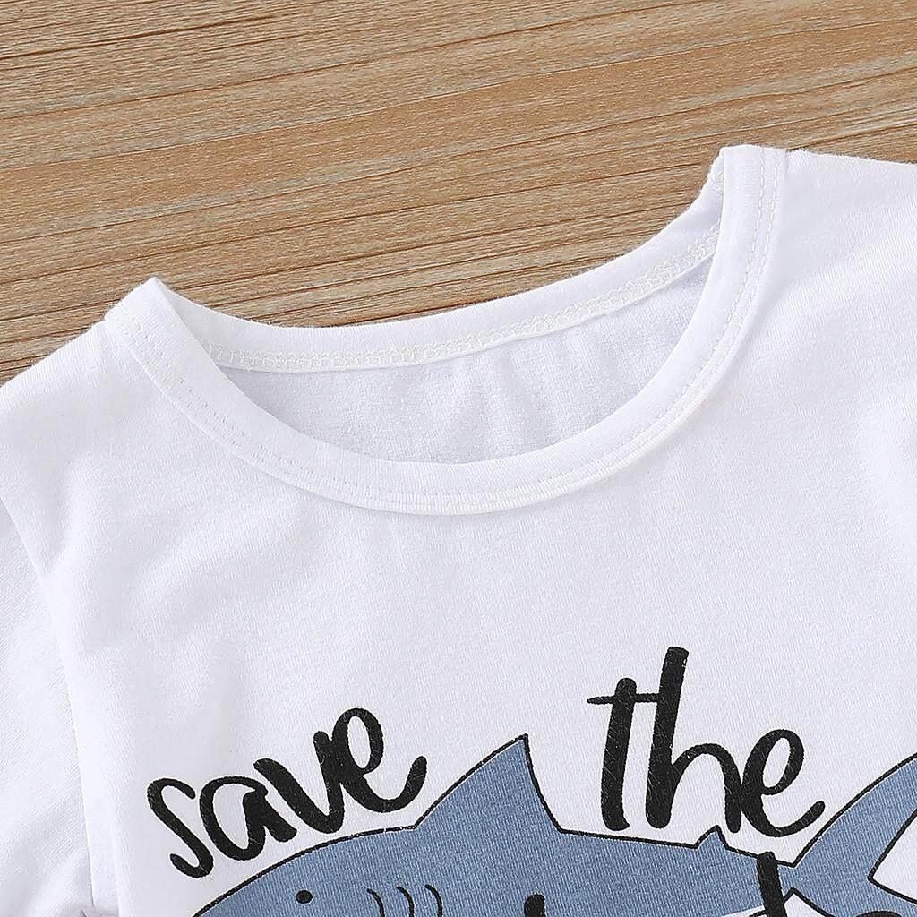 Image 4 for Aynshop ทารกแรกคลอดการ์ตูน SHARK T เสื้อเสื้อกางเกงสั้นชุดเสื้อผ้า