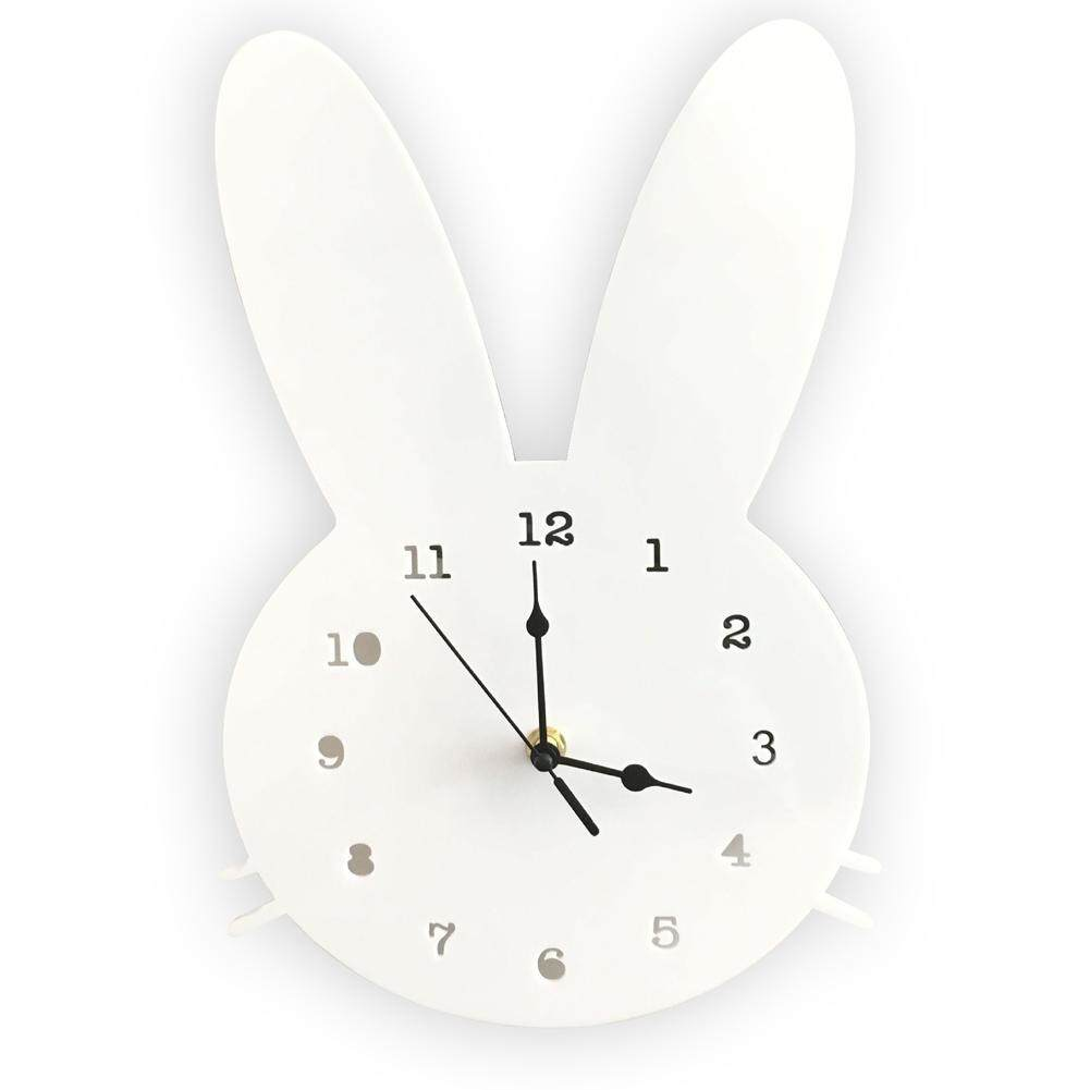 Nordic Wooden Home Boys Girls Decoration Kids Rabbit Shaped Bedroom Wall Clock