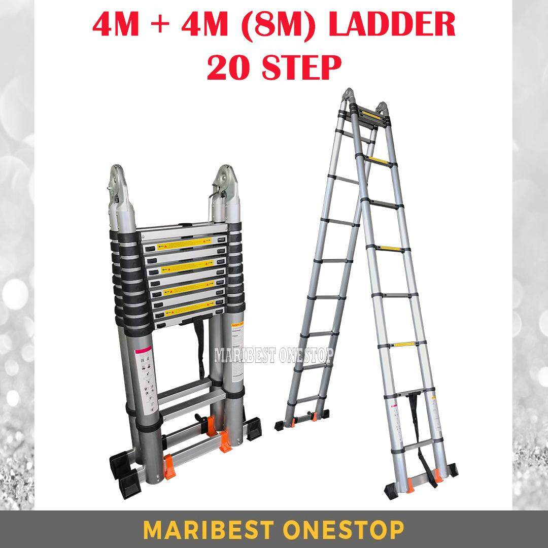 8M (4.0m+4.0M) Double-Sided Multipurpose Telescopic Extendable Aluminium Ladder