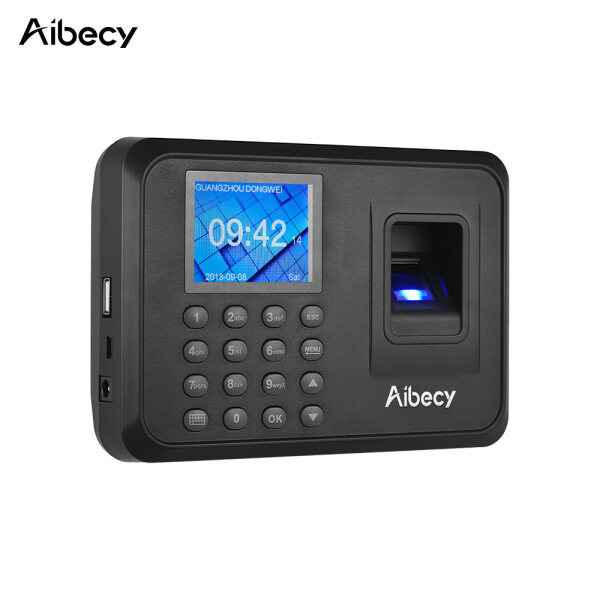 Aibecy Biometric Fingerprint Password Attendance Machine Multi-language with 2.4 inch LCD Screen Employee Management Time Clock Checking-in Recorder Support U Disk to Download Data