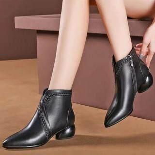 Bốt Nữ Hở Mắt Cá Chân Có Khóa Kéo Bên Mũi Nhọn Mùa Đông, Giày Bốt Gót Tròn Đơn Giản thumbnail