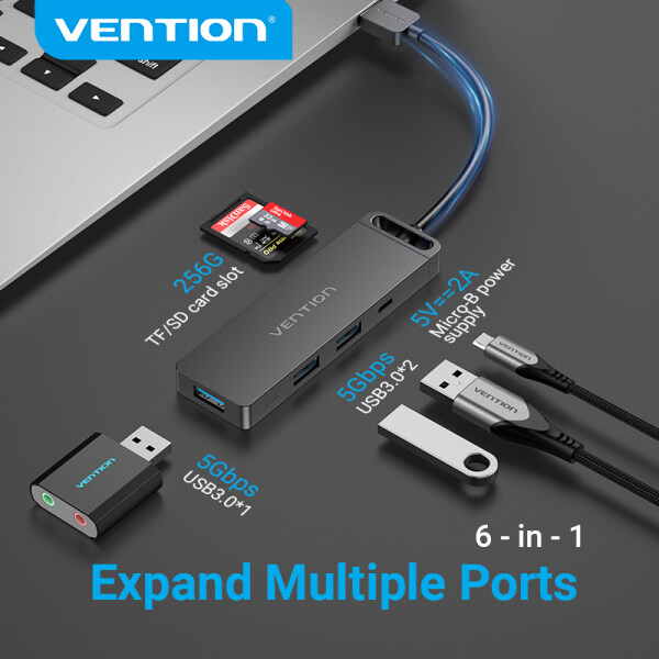 Vention USB 3.0 Hub 6 in 1 USB to USB 3.0 Micro USB TF SD Adaptor Charging Hub USB Hub Adapter With power Supply For PC Laptop Hard Drive Phone Memory Card U disk Keyboard Mouse USB 3.0 Dock Hub