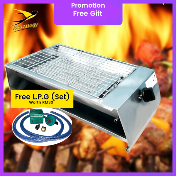 Metallogy BBQ Grill GAS Auto Classic Premium STAINLESS STEEL Camping Picnic Cook Stove/Dapur BBQ Gas[GUARANTEE NO RUSTY]