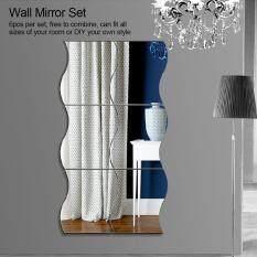 6 Cái/bộ Waves Shape Wall Mirror Sticker Kết Hợp Miễn Phí Trang Trí Phòng Tắm Gia Đình