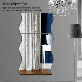 6 miếng gương dán tường bằng chất liệu acrylic kích thước 12 10cm thích hợp sử dụng trong phòng tắm phòng khách phòng ngủ cửa hàng quán cà phê - INTL thumbnail