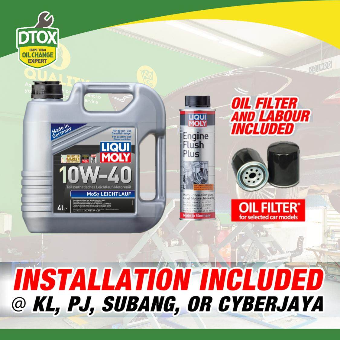 Engine Oil Service Package Liqui Moly Mos2 Semi Synthetic 10w40/10w30 4l + Engine Flush By Dtox Car Service.