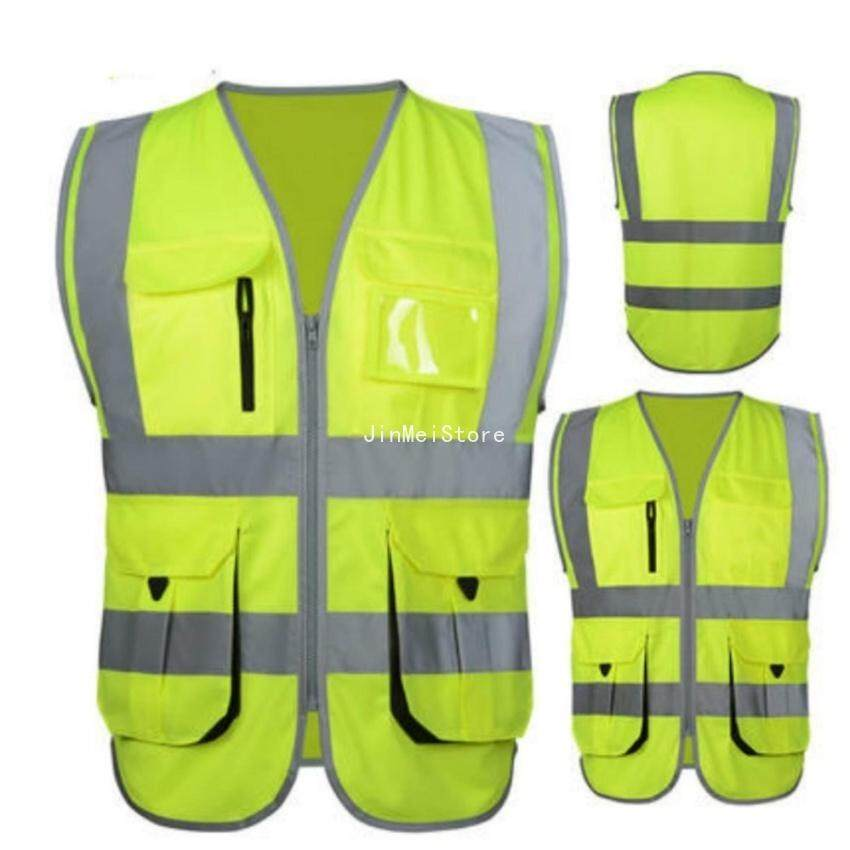 JinMeiStore High Visibility Reflective Safety Vest Reflective Vest Multipockets Workwear Safety Waistcoat(Yellow Xl Size)