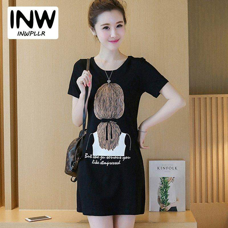 1ddc991d56f INWPLLR New Arrival Korean Style Dresses Women O-neck Short Sleeve Tshirt Dress  Women s Fashion