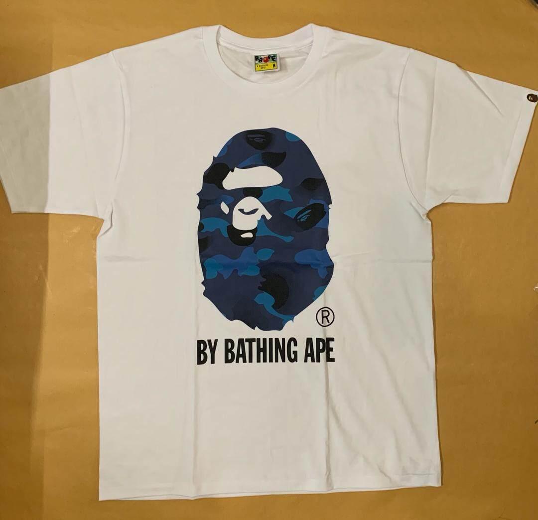 2674ab63 [Ready Stock] BAPE Classic Blue Camo Big Head White Streetwear T-Shirt