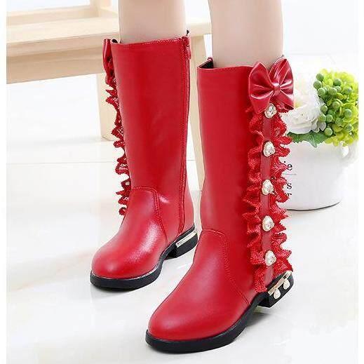 Autumn Winter New Children Boots Girls PU Leather Boots Fashion Martin Boots High Children Princess Girls Shoes Size 27-37