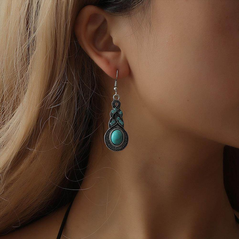 ef5a24731 European and American new fashion vintage design blue crystal encrusted  turquoise earrings sell Bohemian personality earrings