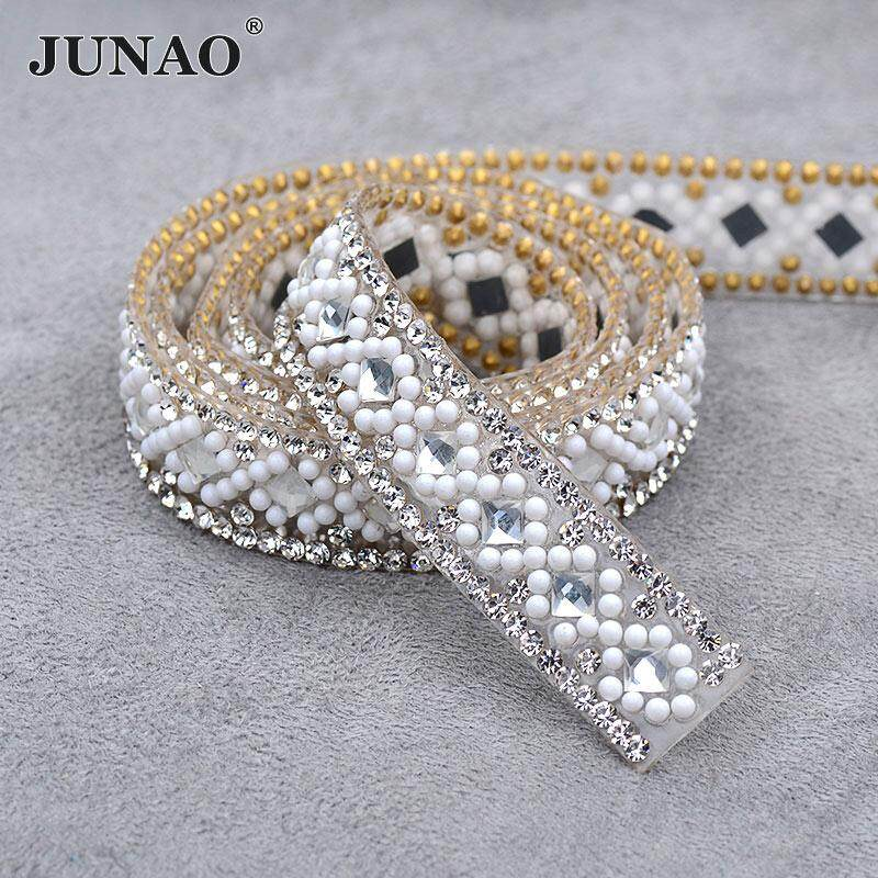 JUNAO 5 Yard*15mm Clear White Hotfix Rhinestone Ribbon Chain Glass Trim Bridal Applique Banding