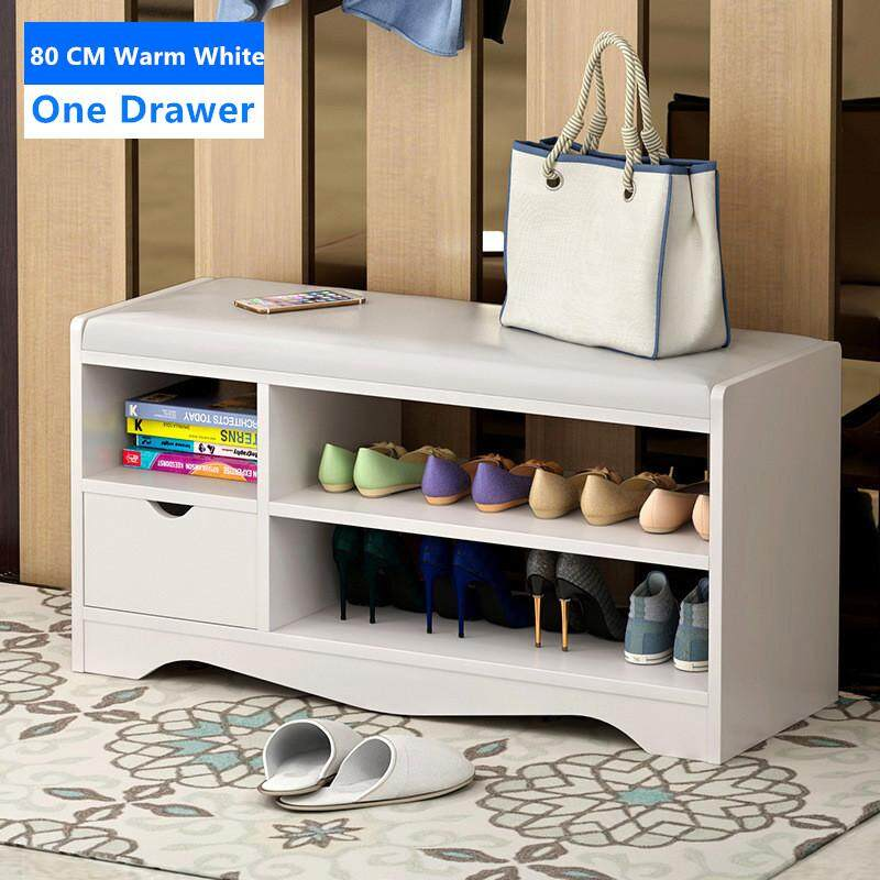 Shoe Storage Bench with Storage Stool Shoe Rack Cabinet White by Olive Al Home