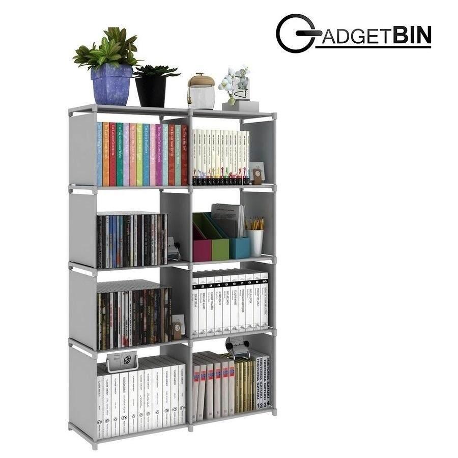 Multifunctional & Portable Diy Book Storage Rack 5 Tier With 8 Columns (grey) By Gadgetbin.