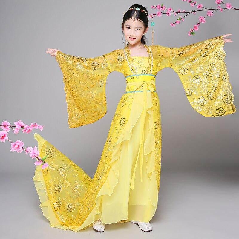 Truyền thống Cổ Quần Áo Cổ Tích Dân Gian Trung Quốc Ca Vũ Trang Phục Hanfu Đầm Nhà Đường Bộ Trang Phục Cô Gái Trẻ Em Trẻ