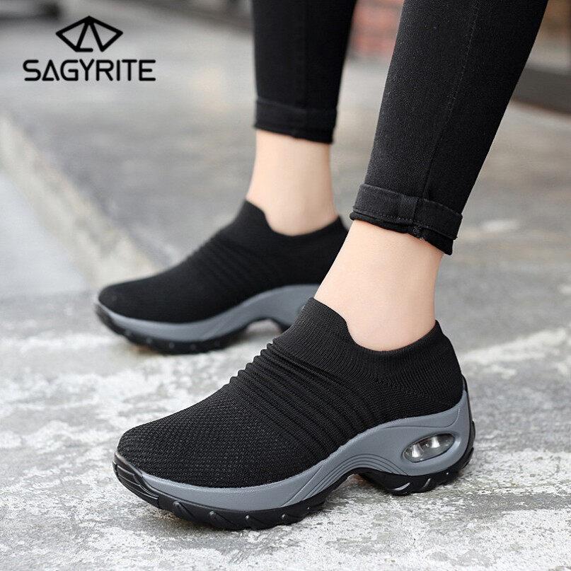 Sagyrite Giày Thể Thao Nữ Thời Trang Đệm Hơi Giày Chạy Bộ Vớ Thoải Mái Giày Lười Nền Tảng Giày Thể Thao Giày Đi Bộ giá rẻ