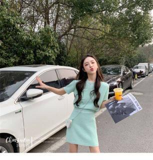Thời Trang Missliu, Tiểu Thiên Phong Nữ Bộ Váy Và Áo Ngọt Ngào Phong Cách Hàn Quốc Hai Mảnh Dệt Kim Mùa Hè Mới 2021 thumbnail