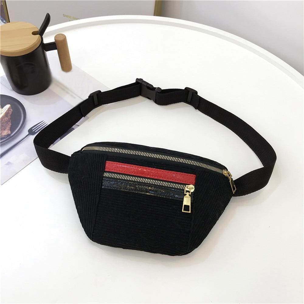 67b067ea2e1 Belt Bag Women 2018 New Leisure Women Girl Panelled Zipper Corduroy  Messenger Bag Chest Waist Bag