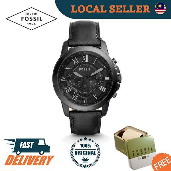 [Authentic] Fossil Grant Chronograph Black Leather Men Watch Jam Tangan Lelaki FS5132 Malaysia