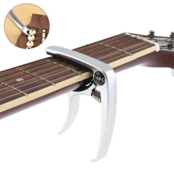 Aluminum Alloy Metal Silver Guitar Capo with Puller for Guitar Ukulele Tuning Malaysia