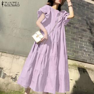 [Free Shipping] Đầm Dự Tiệc ZANZEA Cho Nữ Đầm Maxi Dài Đi Biển Dự Tiệc Cổ Điển Tay Phồng thumbnail