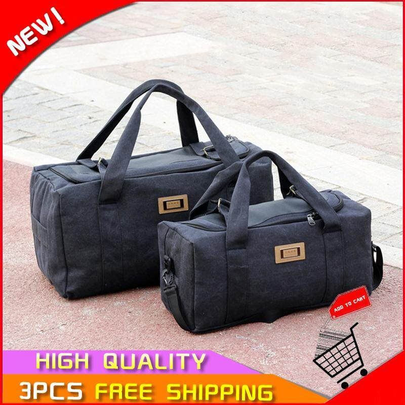 Johnn fashion Tote Bags for men large capacity luggage bag travel bag men thick canvas moving travel bag luggage bag【READY STOCK - High Quality 】