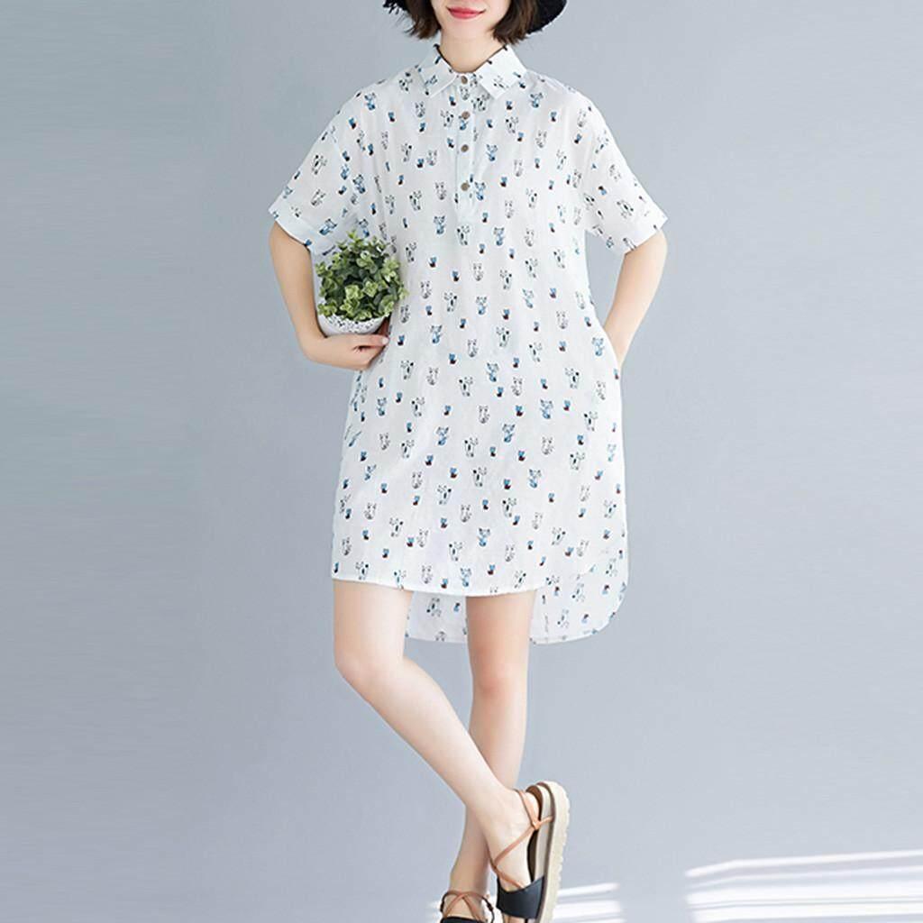 Lijiangangstore 2019 Womens Vintage Print Short Sleeve Turn-Down Collar Casual Knee-Length Dress By Lijiangangstore.