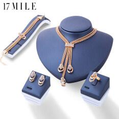 17 Dặm Rose Gold Màu Pha Lê Necklace Earring Bracelet Nhẫn Set Rhinestone New Đơn Giản Đảng Dress Jewelry Sets Đối Với Phụ Nữ