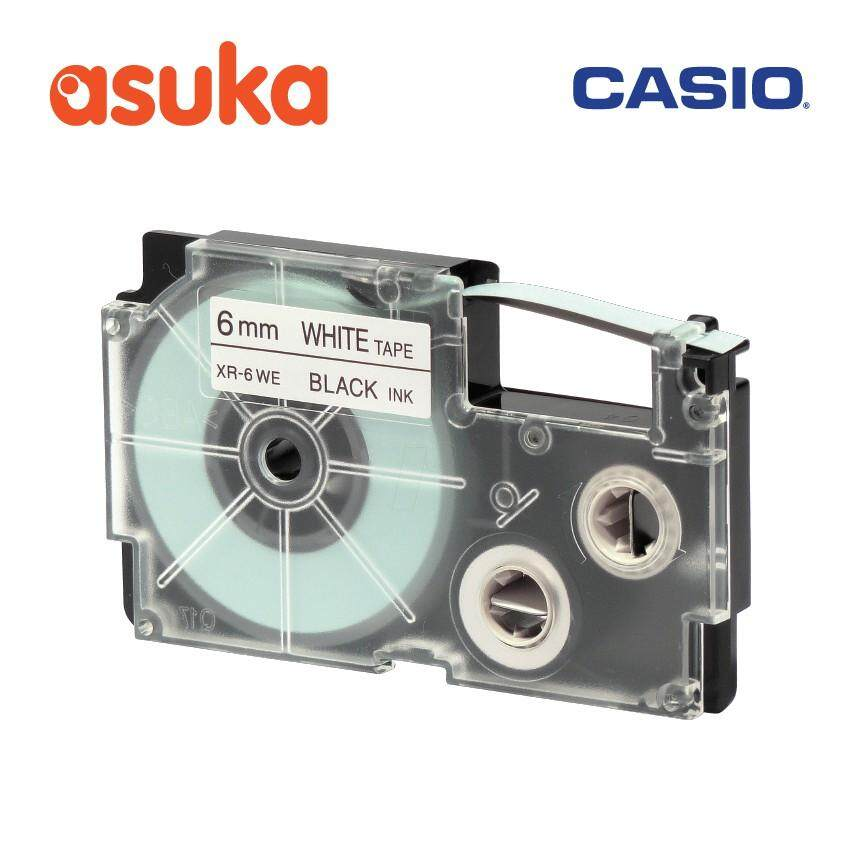 Casio 6mm Black on White tape - XR-6WE1 (8 Meter)/For