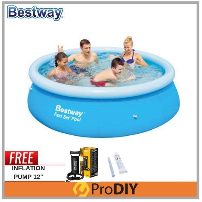 Bestway (57266) 10 Feet Large Inflatable Swimming Pool Family Child Adult Kolam Mandi Renang Foc Inflation Pump + Repair Kit By Prodiy Shop.
