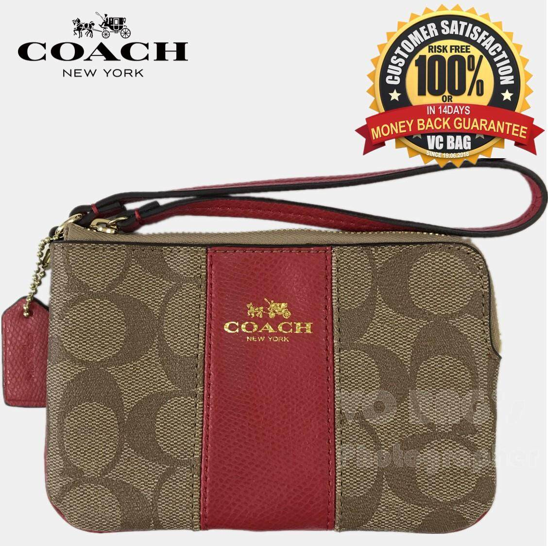 a067b660ba40 COACH F64233 Corner Zip Wristlet in Signature Coated Canvas with Leather  Bag  Gold Brown