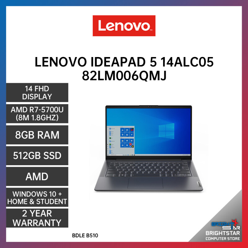 LENOVO IDEAPAD 5 14ALC05 82LM006QMJ LAPTOP GREY 14 FHD / AMD R7-5700U / 8GB / 512GB SSD / AMD / 2 YEARS WARRANTY + Free Additional 6 Month Warranty Malaysia