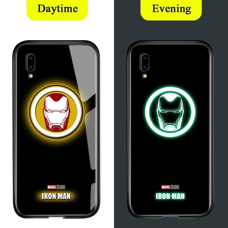 Untuk Vivo Y93 Y91C Cahaya Berseri-seri Dalam Gelap Marvel Manusia Super Avenger Logo Sarung Berkilau Ironman Spiderman Thor Kaca Antigores Kembali Casing Kover