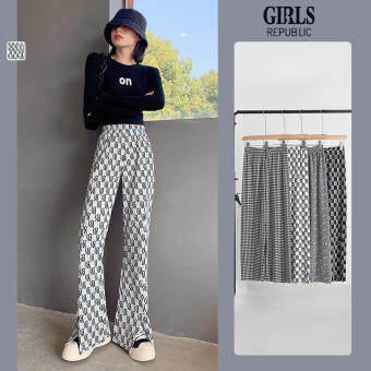 Girls Republic แฟชั่นผู้หญิงพิมพ์กางเกงขากว้างสบาย ๆ เอวสูงสุภาพสตรีแยกกางเกง