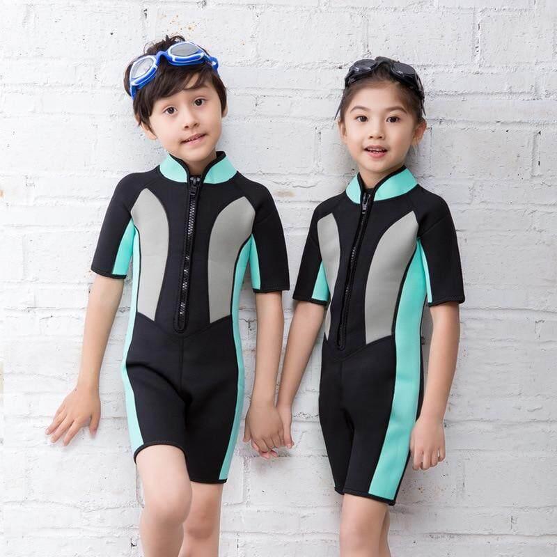 9c31647c68057 Hisea 2mm Neoprene Short Sleeves Kids Wetsuits Diving Suits Boys/Girls  Children Rash Guards One