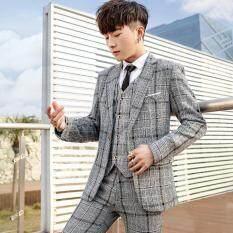 Đồ Tây Phù Hợp Với Nam Kiểu Hàn Quốc Thường Kẻ Sọc Bộ Suit Nhỏ Nhà Tạo Mẫu Tóc Xu Hướng Đẹp Trai Ba Mảnh Đám Cưới Chú Rể Lễ Phục