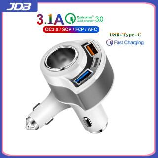 JDB Bộ Sạc Xe Hơi 3 Cổng 3.1A Kép USB 1 Type-C Chính Hãng Cho IPhone12 Xiaomi Samsung Giám Sát Điện Áp Sạc Nhanh Thông Dụng thumbnail