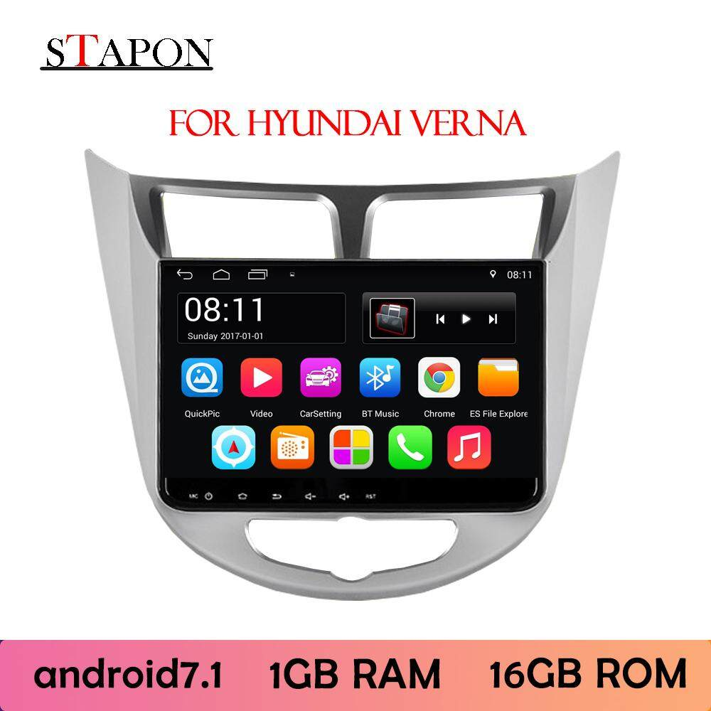 Stapon 9inch 2.5d Android8.0 For Hyundai Accent Verna 2015 2gram+32grom Car Head Unit Plug And Play Mp5 Player With Wifi Bluetooth Gps Fm Am Rear View Steering Wheel Control 900a By Stapon Electronic Store.