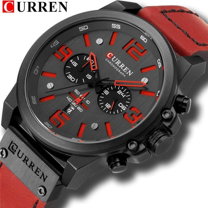 CURREN Mens Watches Top Luxury Brand Waterproof Sport Wrist Watch Chronograph Quartz Military Genuine Leather Relogio Masculino Malaysia