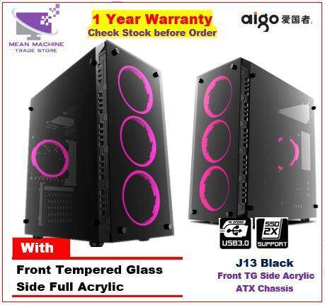 #Aigo J13 ATX Front Tempered Glass Gaming Chasis With RGB Fan Combo# Malaysia
