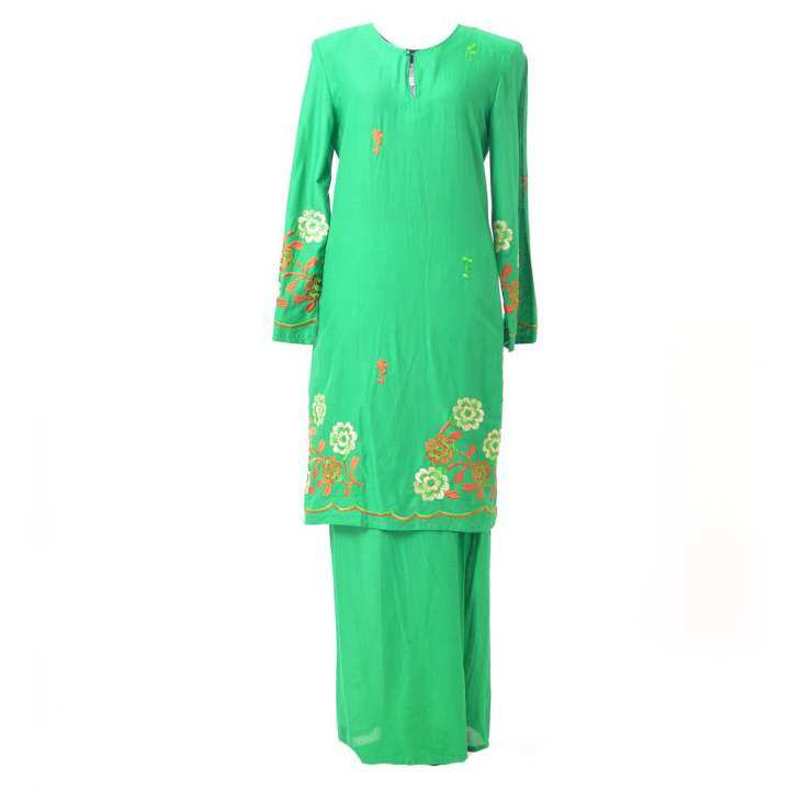 Baju Kurung Moden - Cotton Embroidery - 1185 - E14 (Chili Green)