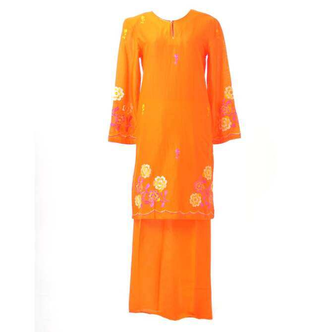 Baju Kurung Moden - Cotton Embroidery - 1185 - E18 (Orange)