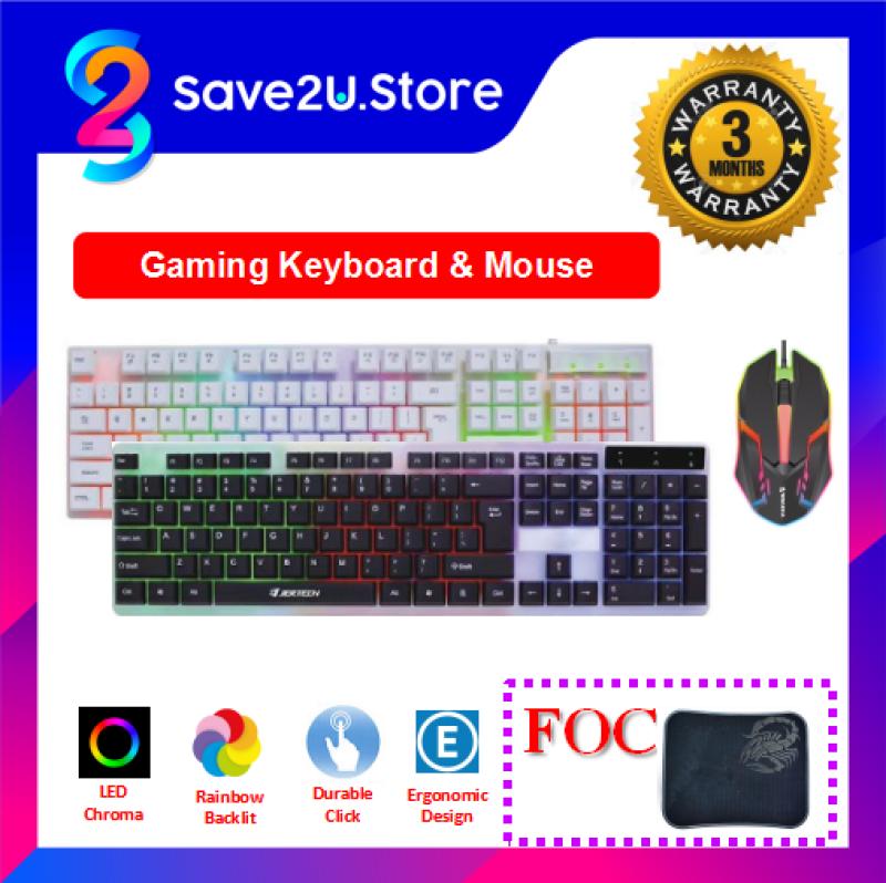 USB Gaming Keyboard LED Backlight Mechanical Feel & Gaming Mouse Set FOC Gaming Mousepad Malaysia