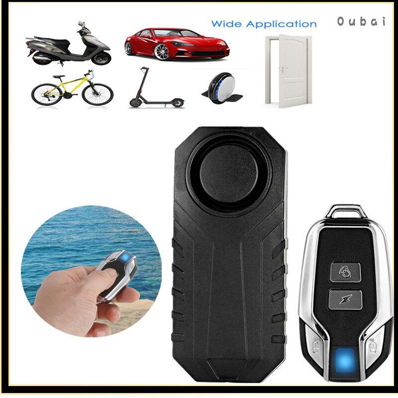 Wireless 113dB Anti-Theft Vibration Triggered Bike Alarm Lock Waterproof Remote