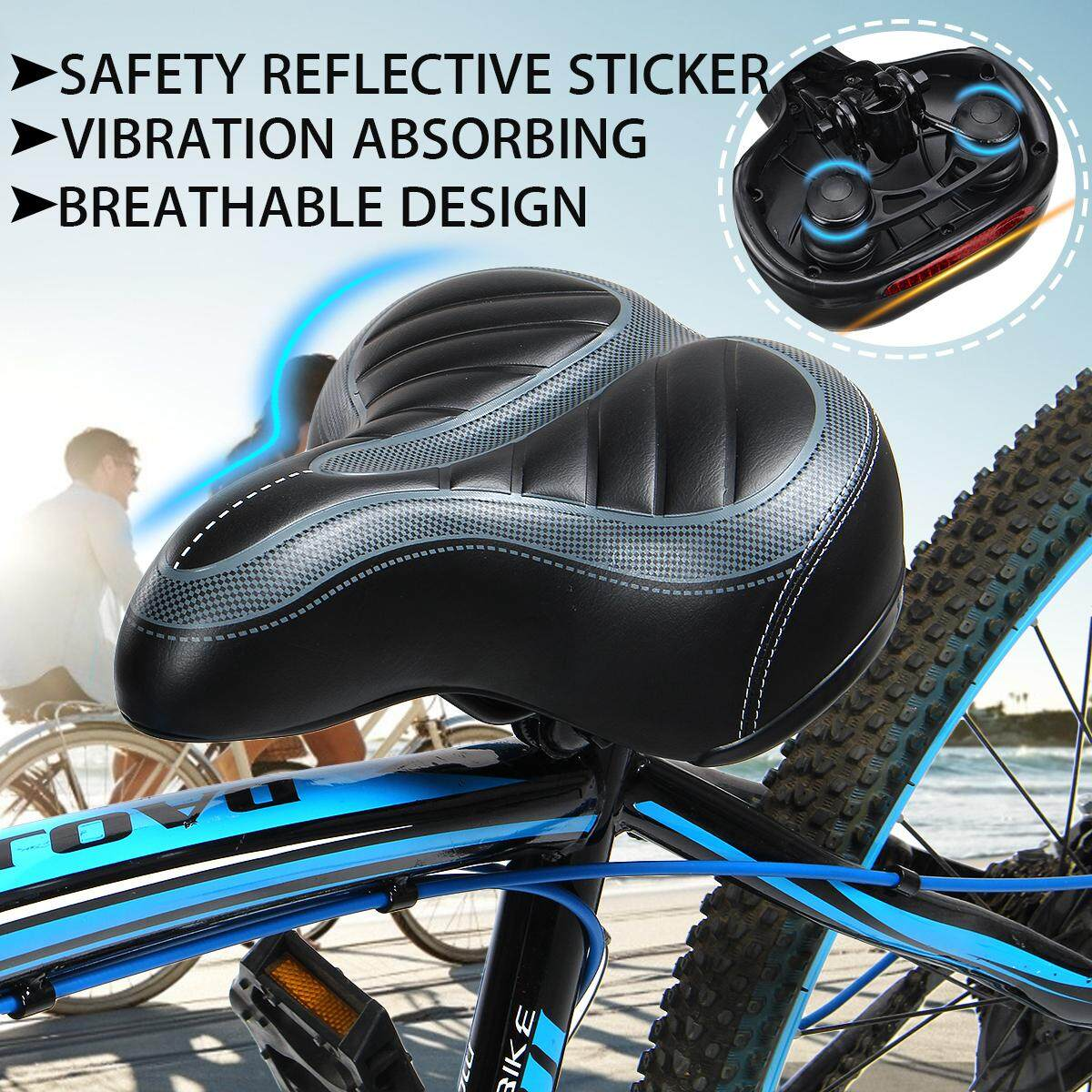 Comfort Soft Wide Bike Saddle Seat MTB Padded Seat Cycling Bicycle Cushion Pad