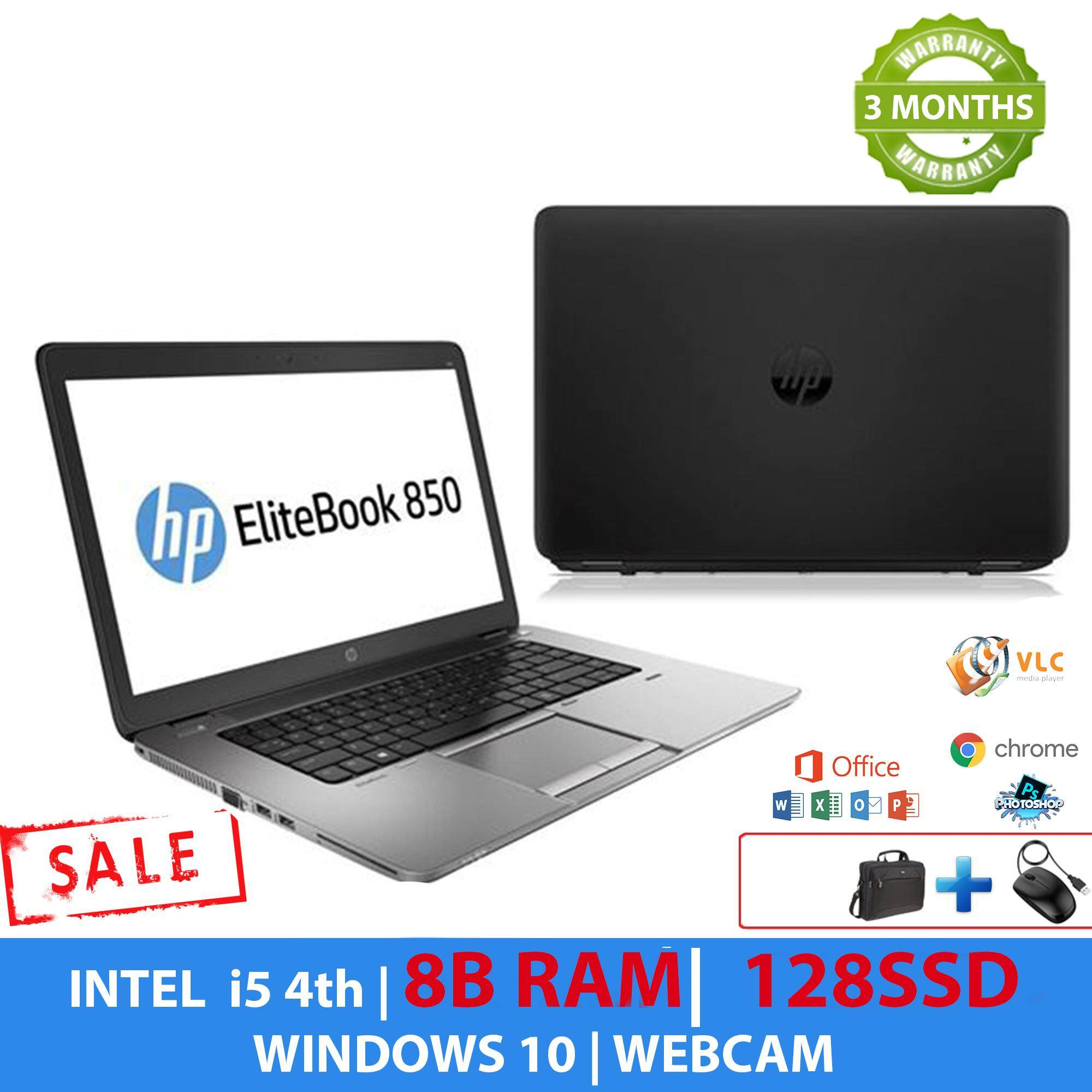 HP 850 G1 I5 4TH GEN 3 Months WARRANTY - 8GB RAM, 128GB  SSD, WEBCAM, FREE BAG, FREE MOUSE 100% ORIGINAL Malaysia