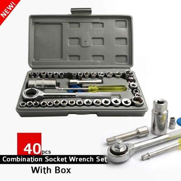 40 Pcs Combination Socket Wrench Set Ratchet Socket Bolt Handle Set Tool Box Spanner Wrench Sleeve Set