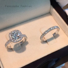 Fancyqube 2 ชิ้น/เซ็ตแฟชั่น engagemen เพทายคริสตัลแหวนสตรีสาวเงินที่เต็มไปด้วยแหวนแต่งงานชุดคนรักเครื่องประดับจัดงานแต่งงานพรรคของขวัญ